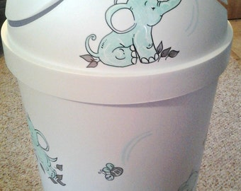 Hamper Baby Elephant Design Personalized Hand Painted Match Bedding