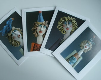 Greeting Cards, Free shipping, HANDMADE CARDS, Women Greeting Cards, Photo Cards, Cards, Set of 4 Greeting Cards, Card Pack