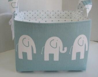 Ex-Large Ele the Elephant, Aqua and White Divided Fabric Basket