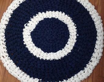 Cat or Dog Upcycled crochet rag rug