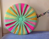 Vintage 70's Knitted Round Pillow Bright Green Hot Pink Yellow Button Center
