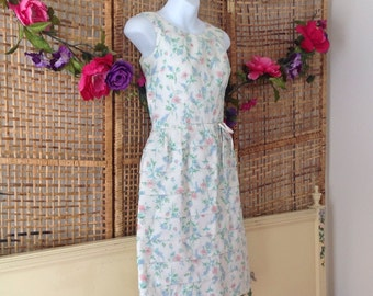 Vintage 60's Day Wiggle Dress-Pastel Floral Garden Party-Sz Small-Tiered Skirt