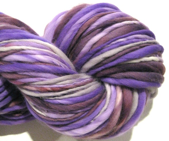 and Thin Yarn Purple People Eater 136 yds violet bulky handspun yarn ...