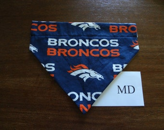 Denver Broncos - dog bandana- over the collar- medium