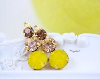 Swarovski Set Stones 23mm Jewelry Finding Charms Light Smoked Topaz Light Peach Yellow Opal Rhinestone Earring Dangles  Brass Settings - 2