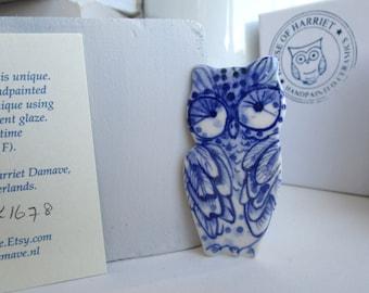 Handpainted Blue Delft Porcelain Brooch - Owl
