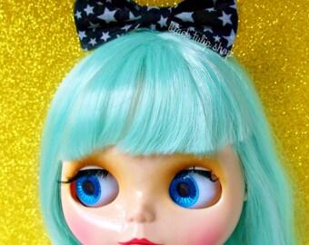 Black Hair Bow Clip Stars Mini Small Bow for Dolls Blythe Pullip Rocker Girl Fabric Hair Bows