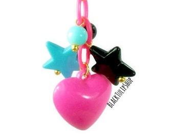 Heart Star Charm Kawaii Bag Charm Hot Pink Planner Charm Planner Accessories Purse Charm Heart Charms Pop Kei Retro 80s Pastel Goth