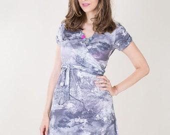 ON HOT SALE Sale-wrap maternity dress -maternity dress - Plus size dress - Knee length dress- breastfeeding top-gray-wrap dress-Elegant dres
