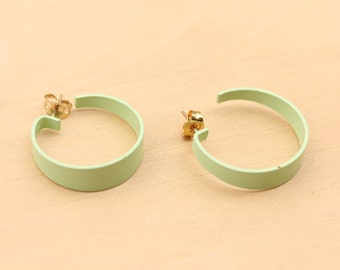 Mint Green Hoops, Mint Green Hoop Earrings, Mint Green, Hoop Earrings