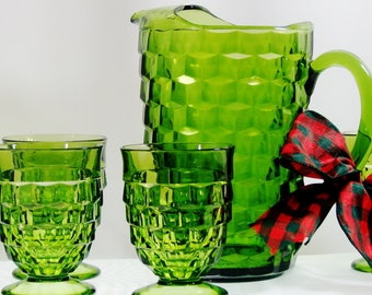 Vintage Green Whitehall Cubist Set Pitcher 64 Oz with Ice Lip Six Footed Tumblers Mint Free Ship