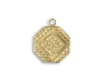4 pieces Deco Medallion Charm - Vintaj Vogue Solid Brass Item DPV037
