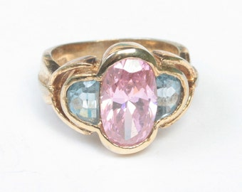 Pink and Blue Stones Sterling Ring Faceted Glass Gold Plated Size 6