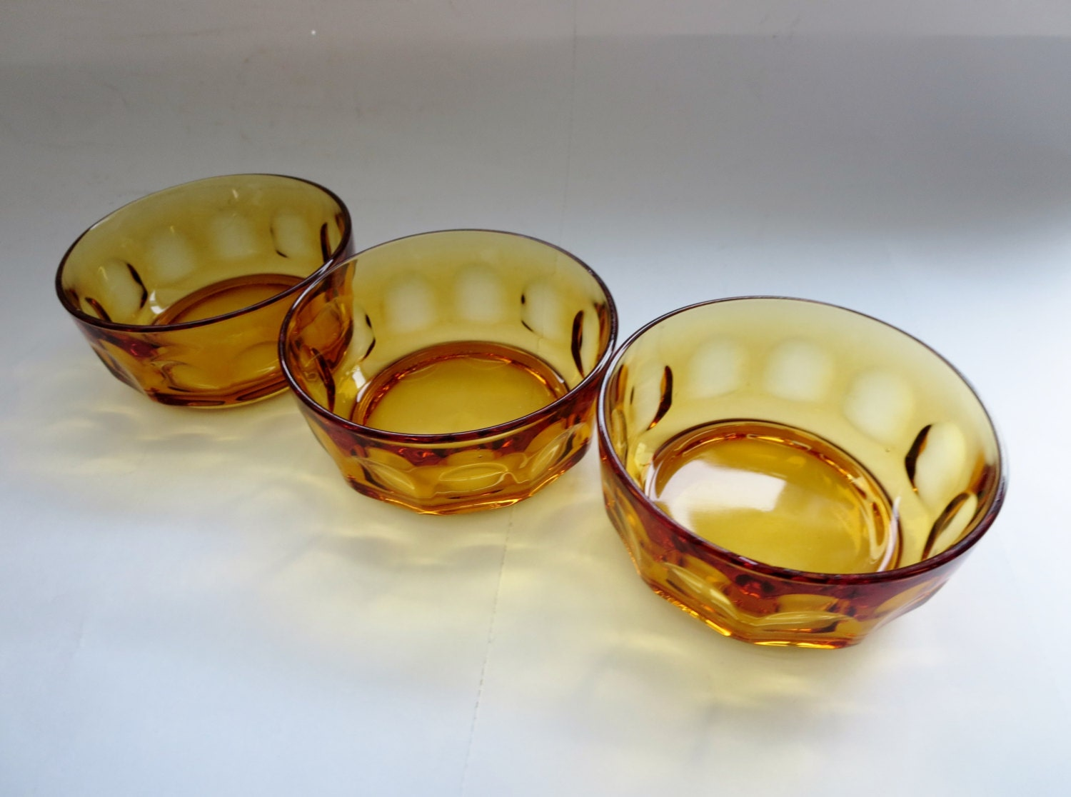 Vintage Amber Glass Bowls Three Amber Glass Thumbprint