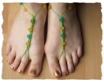 Womens Crocheted Bare Foot Anklet Jewelry in Green & Yellow - one size stretches to fit  #106