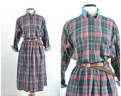 Vintage 1990s Plaid Flannel Grunge Midi Dress with Denim Accents Slouchy Oversize Dress