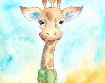 Mr. Giraffe in a Green Scarf -  Art Print - Animals