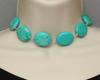 Choker, Turquoise Blue Howlite, Silver Necklace, Birthday Gift for Wife, Modern Choker, Spring Easter Trend, Mothers Day Gift, Summer
