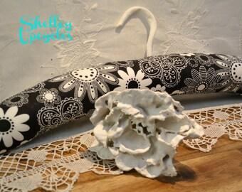 Padded Hangers, Black & White Retro Floral Fabric Hanger, Coat Hanger, Clothes Hanger, Handmade Padded Hanger, Floral Hanger