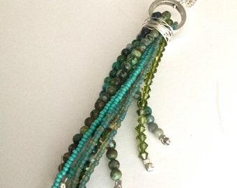 Beaded Tassel Pendant Necklace, Tassel Necklace