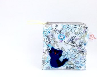 Blue Cat Coin Purse, Cute Coin Purse, Cat Pouch, Coin Purse, Coin Pouch, Cat Purse, Small Kitty Pouch, Blue, Little Pouch - Cat Lover Gift