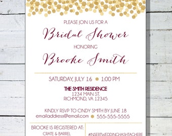 Bridal Shower Invitation - Custom Bridal Shower Invite - Maroon & Gold Bridal Shower
