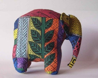 Elephant multi colored silk screened hand painted stuffed soft sculpture wildlife baby room decor stuffed animal