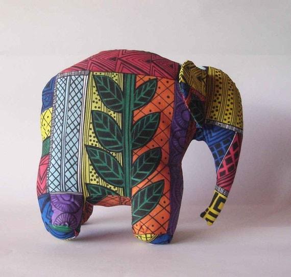 Elephant multi colored silk screened hand painted stuffed soft sculpture wildlife baby room decor stuffed animal
