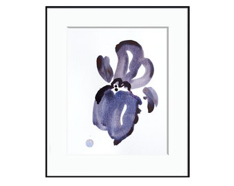 """Contemporary Abstract Botanical Artwork, Watercolor Iris, purple, violet, green 8 x 10"""" """"Painting 923"""" contemporary floral modern wall art"""