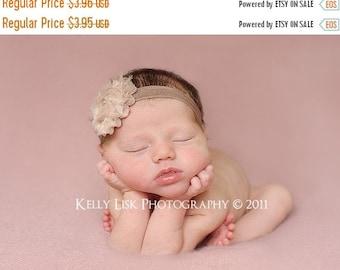 Baby Headband - Infant Headband - Toddler Headband - Newborn Headband - Shabby Chic Flower - Taupe/Brown