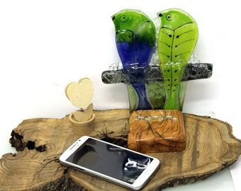 Cell Phone Accessories, Fused glass Birds Figure Desktop Stand for your iPhone or Android Smartphone