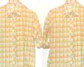 60s Sorbet Plaid Oxford Shirt Poet Artist ButtonDown Rockabilly Country Western Folk Pink Yellow Blouse Harajuku RagDoll Top Pink Yellow