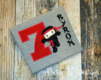 Ninja Karate Martial Arts Personalized Birthday Shirt - Choose ANY Age and color scheme - Martial Arts Tshirt
