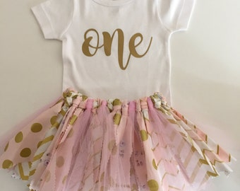 Pink and Gold Fabric Tutu Skirt//First Birthday//Cake Smash Outfit//Tutu and Onesie//Tutu