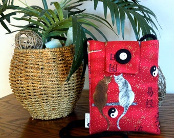Small Red Neck or Shoulder Bag in a Kitty Design