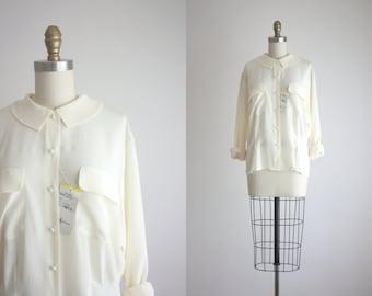 eggshell silk blouse