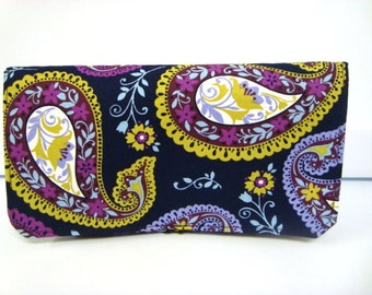 Coupon Organizer / Budget Organizer Holder  - Attaches To Your Shopping Cart- Navy Blue Paisley