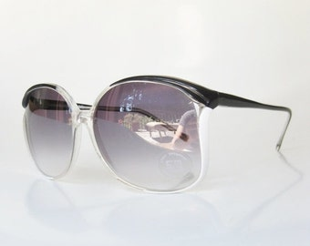 POP SALE 1970s Sunglasses Oversized Vintage Retro Sunnies Womens Ladies Girls Festival Coachella Indie Hipster Black White Avant Garde Glass