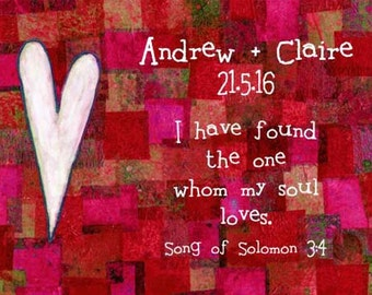 Wedding Gift Personalised Bible Verse Christian I Have Found the One Whom My Soul Loves