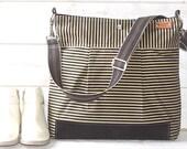 Waxed canvas bag, Diaper bag, Nautical tote bag, Messenger bag  Black striped Stockholm geometric Leather Tote, Vogue