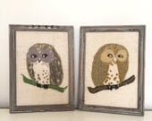 HOO x 2. Pair of Small Vintage Framed Embroidery / Crewel Work OWLS - Shabby Chic Grey Wood Frames - Linen Background - Adorable Retro