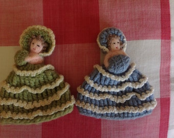 Pair of Vintage Crocheted Crinoline Lady Egg Cosys