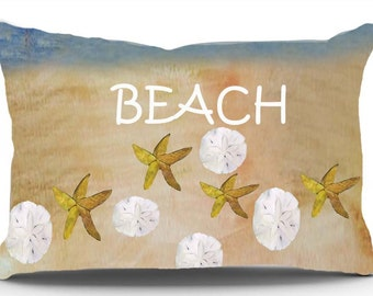 Sand dollar and starfish coastal pillow sham from my art