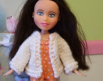 Sweet Hand Knitted Sweater for Blythe or Bratz Repaint/Makeunder Dolls in Creamy White...Cardigan Style...Soft Cashmere Blend