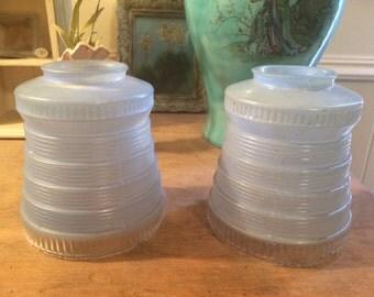 Pair of Vintage Light Blue Glass Light Fixture Globes