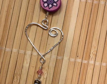 Pink & Silver Heart Chain Necklace - Polymer Clay Beaded Wire Wrapped Jewelry Adjustable