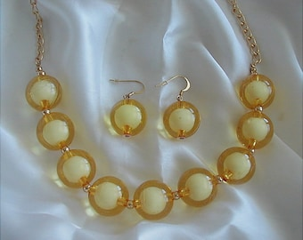 Lemon Yellow Lucite Bubble Necklace and Earrings