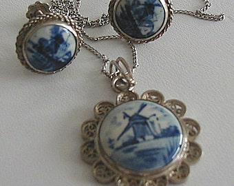 Vintage Blue Delft Sterling Pendant and Screw Back Earrings