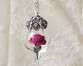 Magenta Fuschia Pink Peony Tiny Flower Glass Terrarium Necklace by Woodland Belle