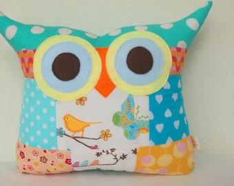 Cushion pillow /Patchwork/ Aqua/bird /Owl pillow/Ready to ship